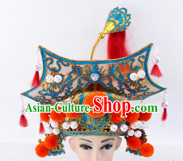 Chinese Traditional Peking Opera Takefu Helmet Ancient General Hat for Men