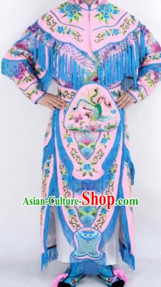 Chinese Traditional Peking Opera Young Lady Costumes Ancient Female General Pink Dress for Women