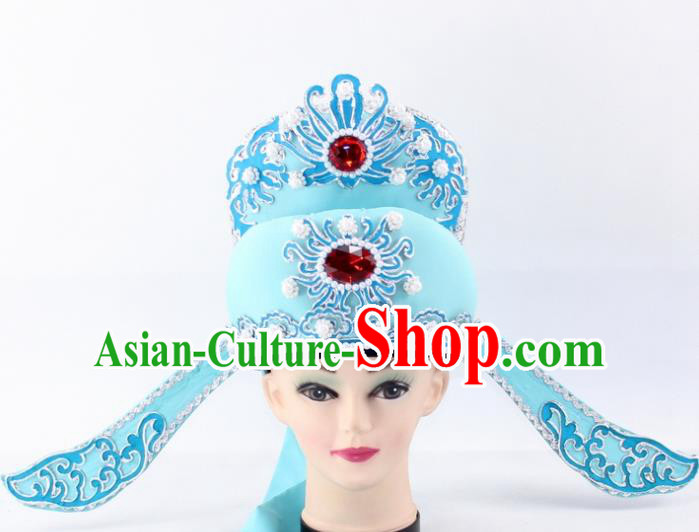Chinese Traditional Peking Opera Niche Headwear Ancient Number One Scholar Blue Hat for Men