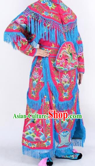 Chinese Traditional Peking Opera Rosy Costumes Ancient Female General Dress for Women