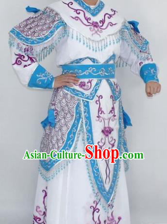 Chinese Traditional Peking Opera White Costumes Ancient Female General Clothing for Women