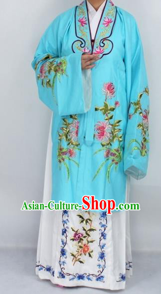 Chinese Traditional Peking Opera Diva Costumes Ancient Princess Embroidered Chrysanthemum Blue Dress for Women