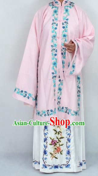 Chinese Traditional Peking Opera Diva Pink Costumes Ancient Princess Embroidered Cloak for Women