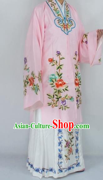 Chinese Traditional Peking Opera Nobility Lady Pink Costumes Ancient Princess Embroidered Cloak for Women