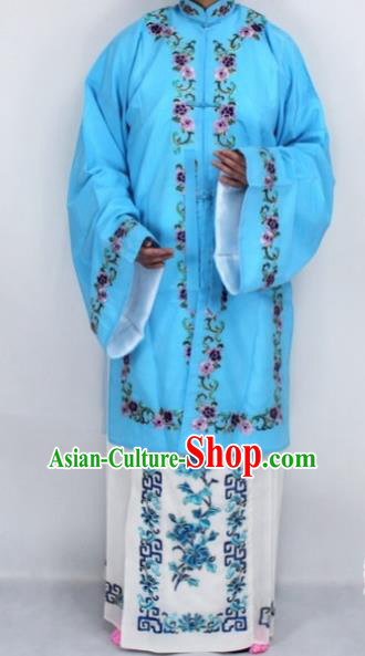 Chinese Traditional Peking Opera Nobility Lady Costumes Ancient Embroidered Blue Dress for Women