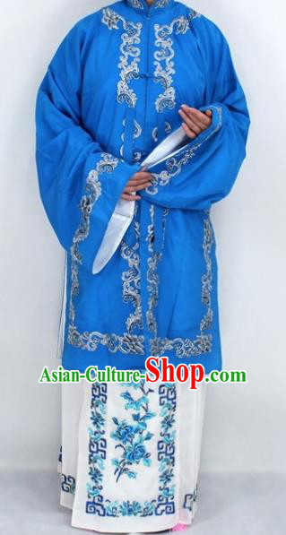 Chinese Traditional Peking Opera Nobility Lady Costumes Ancient Embroidered Deep Blue Dress for Women