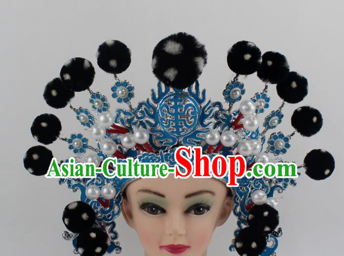 Chinese Traditional Peking Opera Takefu Black Venonat Helmet Ancient Warriors Hat for Men
