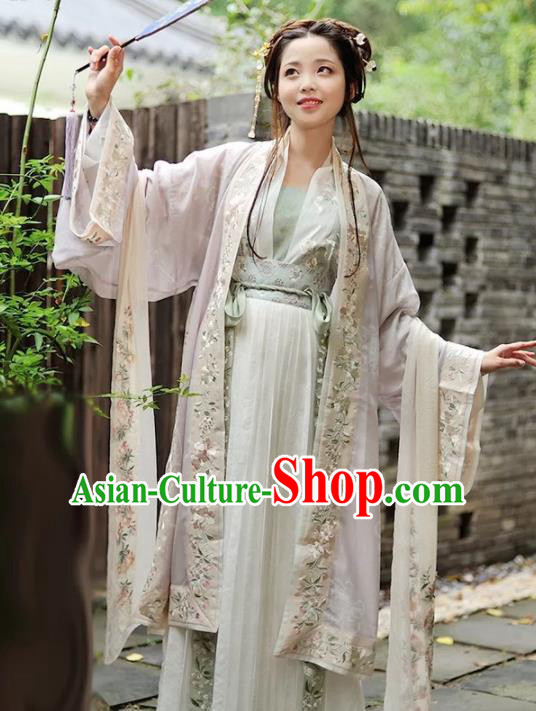 Chinese Ancient Song Dynasty Nobility Lady Embroidered Costumes Traditional Coquette Hanfu Dress for Women