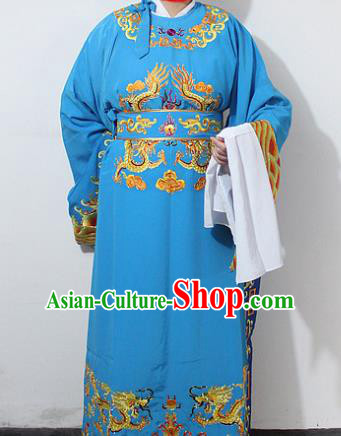 Chinese Traditional Peking Opera Scholar Blue Embroidered Robe Ancient Minister Costume for Men