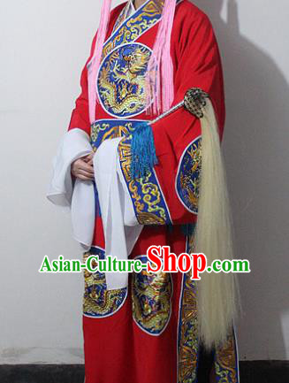 Chinese Traditional Peking Opera Court Eunuch Red Embroidered Robe Ancient Costumes for Men