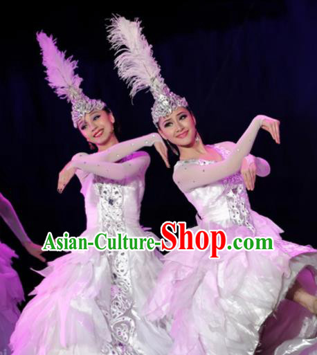 Chinese Traditional Ethnic Costumes Uyghur Minority Nationality Dance White Dress for Women