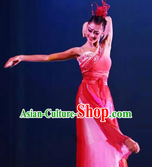 Chinese Traditional Classical Dance Costumes Umbrella Dance Dress for Women