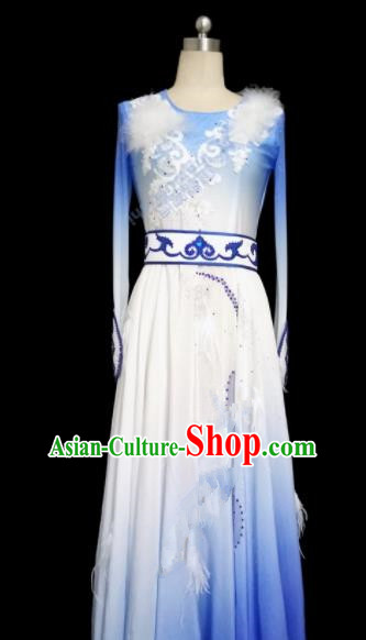 Chinese Traditional Classical Dance Costumes Umbrella Dance Blue Dress for Women