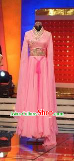 Traditional Chinese Classical Dance Embroidered Costumes Ancient Imperial Consort Pink Hanfu Dress for Women