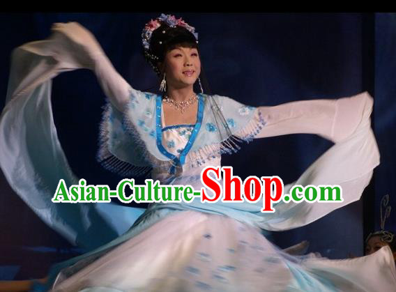 Traditional Chinese Classical Dance Embroidered Costumes Ancient Imperial Consort Blue Hanfu Dress for Women