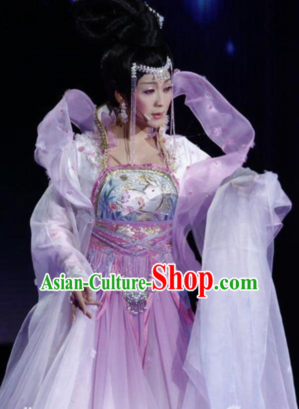 Traditional Chinese Classical Dance Embroidered Costumes Ancient Moon Goddess Lilac Hanfu Dress for Women