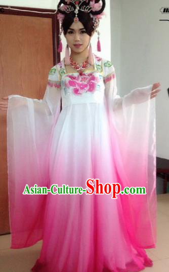 Traditional Chinese Classical Lotus Dance Embroidered Costumes Ancient Moon Goddess Pink Hanfu Dress for Women