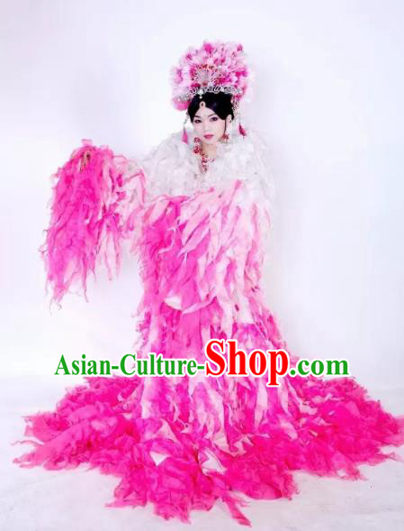 Traditional Chinese Classical Dance Costumes Ancient Imperial Consort Pink Feather Hanfu Dress for Women