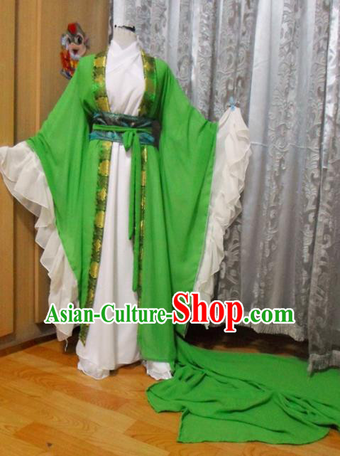 Traditional Chinese Han Dynasty Classical Dance Costumes Ancient Imperial Consort Green Hanfu Dress for Women