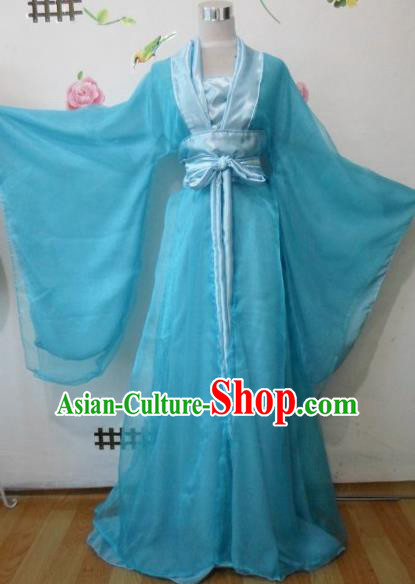 Traditional Chinese Tang Dynasty Classical Dance Costumes Ancient Princess Blue Hanfu Dress for Women
