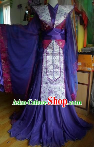 Traditional Chinese Han Dynasty Classical Dance Costumes Ancient Princess Purple Hanfu Dress for Women