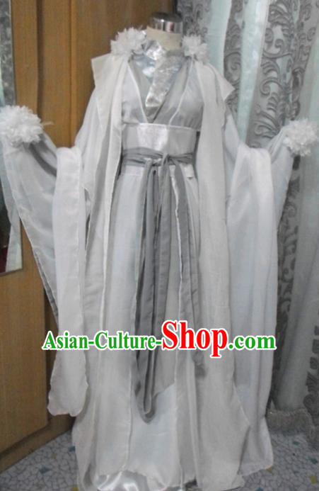 Traditional Chinese Han Dynasty Classical Dance Costumes Ancient Princess White Hanfu Dress for Women