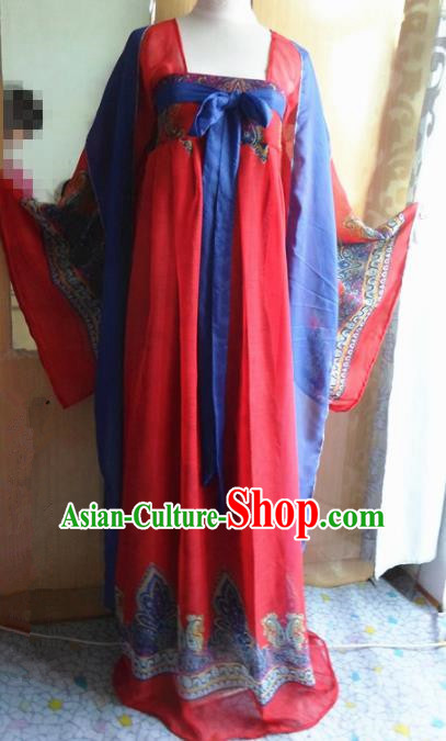 Traditional Chinese Tang Dynasty Classical Dance Costumes Ancient Princess Red Hanfu Dress for Women