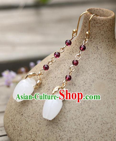 Chinese Traditional Jade Jewelry Accessories Ancient Hanfu Earrings for Women