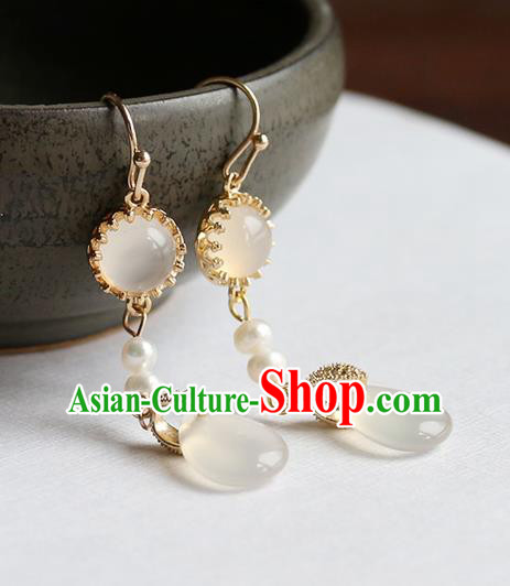 Chinese Traditional Jewelry Accessories Ancient Hanfu Chalcedony Earrings for Women