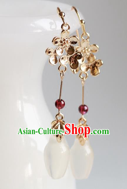 Chinese Traditional Jewelry Accessories Ancient Hanfu Garnet Earrings for Women