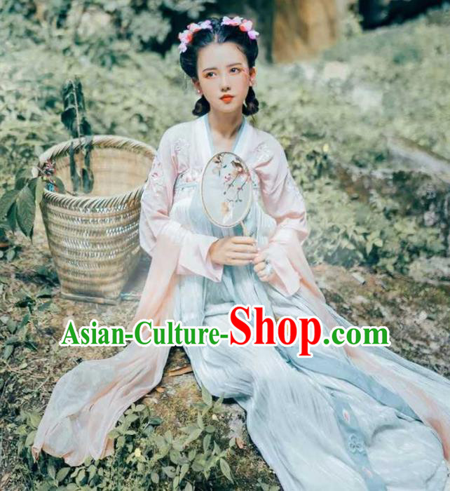 Traditional Chinese Ancient Peri Hanfu Dress Tang Dynasty Princess Embroidered Costumes for Women