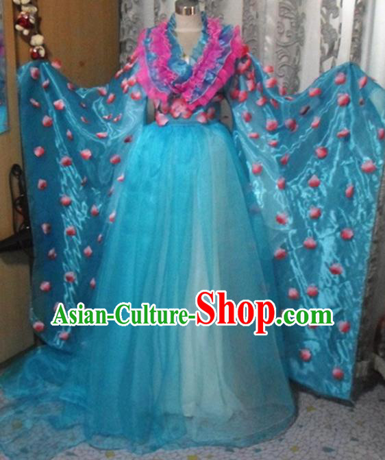 Traditional Chinese Classical Dance Embroidered Costumes Ancient Peri Blue Hanfu Dress for Women