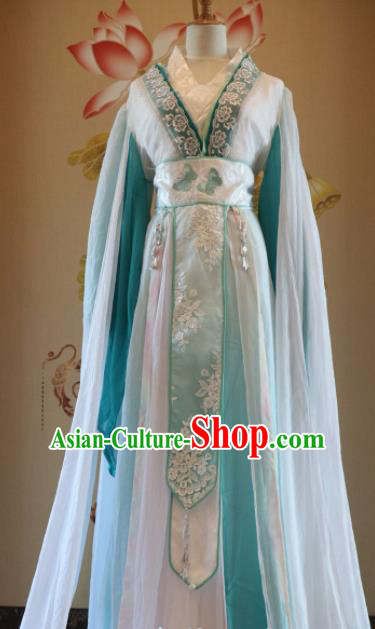 Traditional Chinese Ancient Peri Green Hanfu Dress Han Dynasty Court Princess Embroidered Costumes for Women