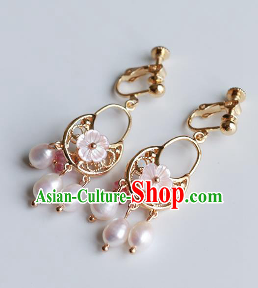 Chinese Traditional Jewelry Accessories Ancient Hanfu Pink Pearls Earrings for Women