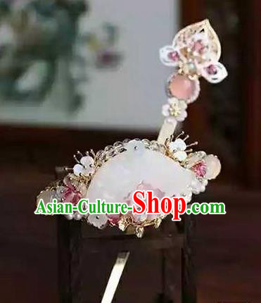 Chinese Traditional Hair Accessories Ancient Handmade Hanfu Jade Hairpins Hair Crown for Women