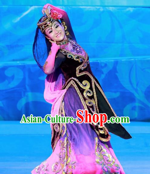 Chinese Traditional Ethnic Costumes Uyghur Minority Nationality Dance Purple Dress for Women