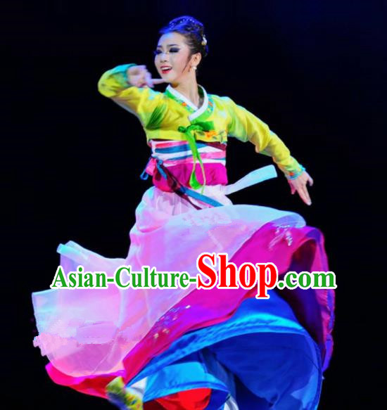 Chinese Traditional Ethnic Costumes Korean Minority Nationality Dance Dress for Women
