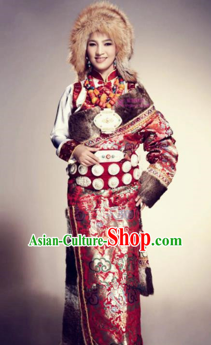 Chinese Traditional Tibetan Ethnic Costumes Zang Minority Nationality Dance Clothing for Women