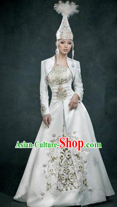 Chinese Traditional Ethnic Costumes Mongols Minority Nationality Dance White Dress for Women