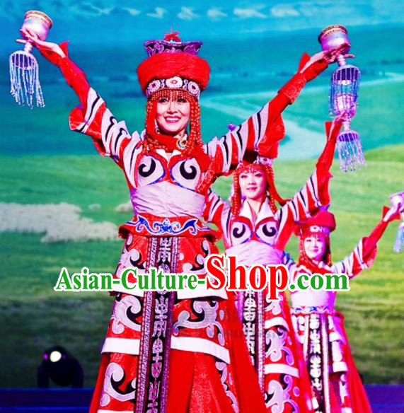 Chinese Traditional Mongolian Ethnic Costumes Stage Performance Minority Nationality Dance Dress for Women