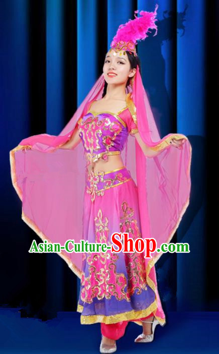 Chinese Traditional Uigurian Ethnic Costumes Stage Performance Minority Nationality Dance Pink Dress for Women
