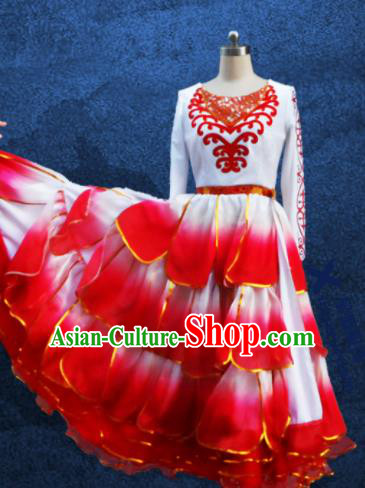 Chinese Traditional Ethnic Costumes Stage Performance Kazak Minority Nationality Dance Dress for Women