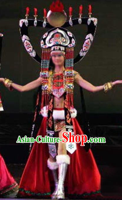 Chinese Traditional Ethnic Costumes Stage Performance Mongolian Minority Nationality Dance Dress for Women