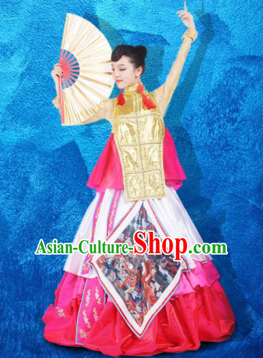Chinese Traditional Ethnic Costumes Stage Performance Minority Nationality Dance Dress for Women
