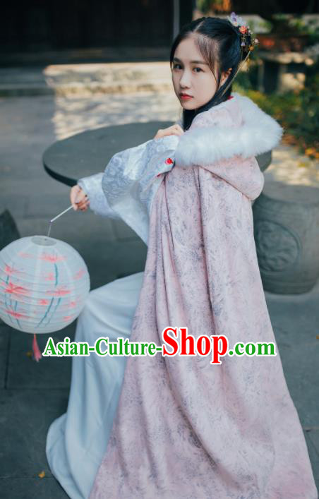Chinese Traditional Costume Ancient Ming Dynasty Princess Embroidered Pink Cloak for Women