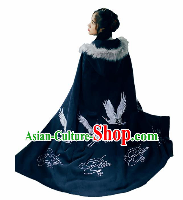 Chinese Traditional Costume Ancient Ming Dynasty Princess Embroidered Crane Cloak for Women