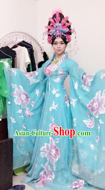 Chinese Traditional Classical Dance Costume Ancient Tang Dynasty Imperial Consort Embroidered Blue Dress for Women