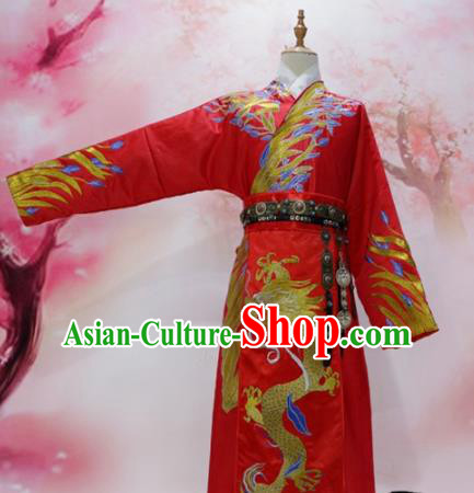Chinese Traditional Red Embroidered Robe Ancient Tang Dynasty Emperor Wedding Costumes for Men