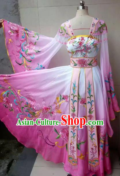 Chinese Traditional Tang Dynasty Embroidered Costume Ancient Imperial Consort Pink Hanfu Dress for Women