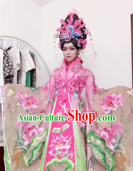 Traditional Chinese Tang Dynasty Costume Ancient Imperial Consort Embroidered Lotus Pink Hanfu Dress for Women